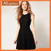 Free Shipping 2013 Black Sleeveless Slim Temperament All-match Translucence Lace Tank Sexy Women Dresses, Cute Dress