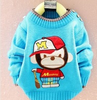 Free shipping 2013 hot sweater children's sweaters and lovely cartoon little monkey striped sweater