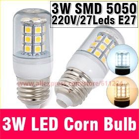 E27 3W 5050SMD White/Warm White AC 220V 27 pcs Led Chip LED Corn Bulb 360 degree bulbs Spot Light E27 Led Corn Bulb Lighting