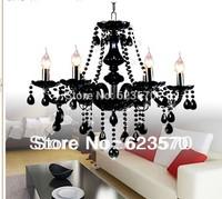 FREE SHIPIING BLACK CHANDELIER, BLACK CRYSTAL CHANDELIER.6lamps chandelier