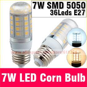 E27 7W 5050 SMD 220V  Warm White/White LED Corn Bulb 36 pcs Led Chip Bulb 360 degree bulbs Spot Light E27 Led Corn Bulb Lighting