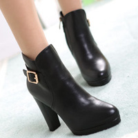 { D&T Shop} 2013 Winter Plus Velvet Warm Women Motorcycle Boots Platform Ultra High Heels Wholesale Free Shipping
