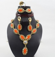 Free Shipping Gold Plated Orange rhinestone Crystal Pendant Necklace Jewelry Set ,Costume fashion Jewelry set F103