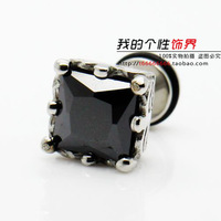 Cheap Square zircon medical Titanium steel male stud earring wholesale