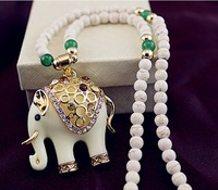 Beaded Rhinestone Crystal Cute elephant Necklace