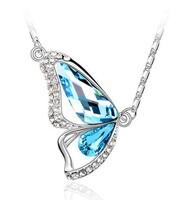 Fashion crystal jewelry Austria Imitation diamond butterfly Pendants women Necklaces animal free shipping H027