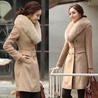 Free Shipping 2013 Women Woolen Outerwear Ultralarge Faux Fox Fur Wool Coat Women's Long Wool Winter Coats