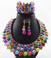 2013 NEW Designer brand chunky fashion costume jewelry beads set stainless steel High quality wedding/bridal jewelry sets
