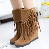2013 autumn and winter boots tassel boots female shoes flat boots with a single elevator platform snow boots wedges short boots