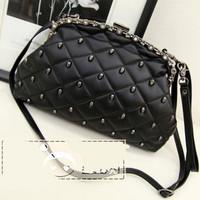 New 2014 skull small bag rivet evening handbag Korean women messenger handbags fashion plaid PU leather handbags