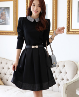 Winter Dress New 2014 Women  Elastic Long-sleeve Tops/Blouse pleated Dress with belt Free shipping Female One-piece Dress S-XXL
