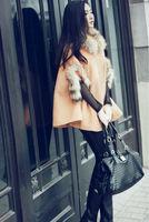 New Winter Fashion Women's Coats Wool Collar Cuff Cape Style Short  Cloak Outwear Woolen Blend Loose Tweed Coat Camel Color 4505