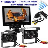 "12V Wireless Reversing Kit 7"" TFT Touch Screen + 2 X Wateproof IR Night Vision CCD Camera Semi Bus Caravan Truck"