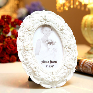 7 10 pure white diamond carved oval frame wedding photo frame making photo frame resin photo frame(China (Mainland))