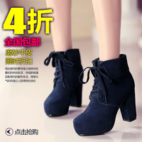 spring and autumn women's cowhide shoes thick heel high-heeled platform boots female boots martin boots snow boots 609