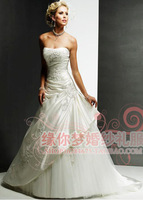 sexy Wedding dress new 2014 bridal tube top vestido de noiva embroidery satin wedding dresses plus size wedding gowns ball gown