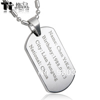 U.S. military license Ti jewelry men pendant necklace female Korean fashion brand identity custom gift tag lettering