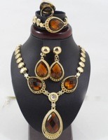 Fashion Gold Plated brown rhinestone Crystal  Bridal wedding jewelry sets for brides indian /african costume jewelry set