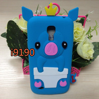 Promotin Cute 3D Soft Silicone Rubber Case Cover Pig Piggie for Samsung i9190 9190 free shipping
