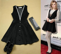 Autumn new arrival small fashion lace V-neck high waist slim faux 2 one-piece dress black