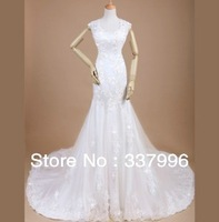 2013 New Slim Was Thin French Lace Fishtail Trailing Wedding Dress Sexy Halter Wedding Dress Upscale