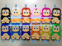 Free shipping Wholesale 100pcs/lot High Quality 3D Cartoon monkey Soft Silicone Silicon Case Cover For Samsung Galaxy S4 i9500