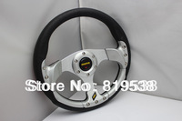 2014 Hot Brand New PU steering wheel modified racing imitation silver 331 Free Shipping 13-inch