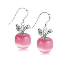 Free Shipping Promotion High Quality 925 Silver/Crystal Earring Silver Earrings Apple Christmas gift  Wholesale Fashion Jewelry