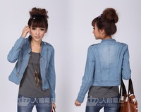 Stand collar Outerwear & Coats, long sleeves, zipper, elastic washed jeans, short denim jacket