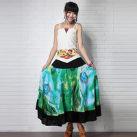 FREE SHIPPING!!!2013 women skirt national trend print cotton silk formal expansion bottom bust skirt