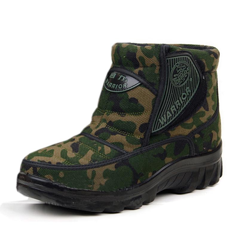 Botas de neve guerreiro botas masculinas Camuflar botas térmicas impermeáveis os sapatos de algodão acolchoado idosos(China (Mainland))