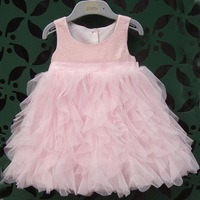 Spot Wholesale Latest Design Girls Sleeveless Sequined Dress With Belt Girls Cute Pink Princess Dress Prom Dress Party Net Yarn