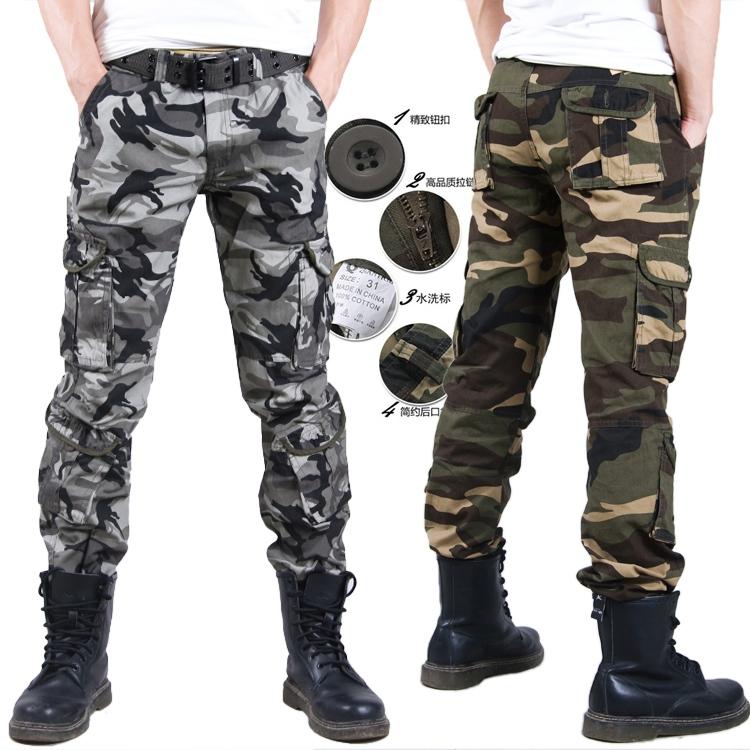 Promozione 2014 utensili camuffamento pantaloni slim esterno multi- Tasca più la dimensione militare casuale pantaloni spedizione gratuita
