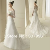 China Sales Small Fresh and Elegant Upscale Thin Slim Word Shoulder A Pendulum Tail wedding 2014 Latest Wedding Dress