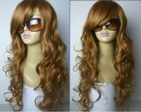 Cosplay Fashion Brown Long Curly With Bang wig
