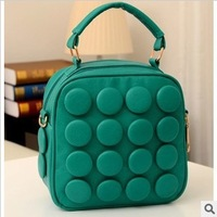 South Korean style fashion small pure and fresh and dot design candy color double back one shoulder multi-purpose women handbags
