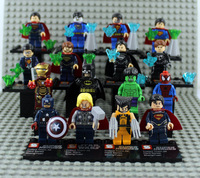 Chrsitmas Gift 16pcs Lot Super Heroes Figures VS 8pcs SuperMan Collector's Edition Xmen/Batman/Ironman/Hulk/Thor Block