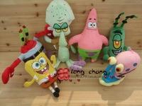 Fee Shipping Promotional Spongebob Patrick Star Squidward Mr.Crab Plankton animation plush toy doll child XMAS toys gift