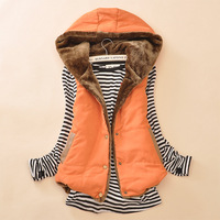 plus size women winter vest spliced PU cotton casual style vest sleeveless coat korean hooded vest women