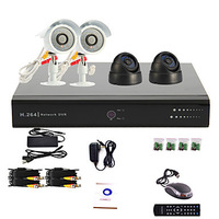 4 Channel CCTV DVR System(2 Outdoor Warterproof Camera&2 Indoor Dome Camera,PTZ Control)