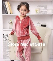 (Suitable for height 120-160cm)Wholesale And Retail Fall/Winter Girls' Velvet Zippered Sportswear&Clothing Sets With Rhinestone