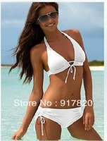 White Womens Sexy Bikini Sets Swimwear Swimsuit Padded Bathing Beach Suit S M L Size S M L Free Shipping