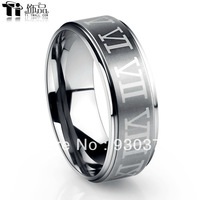 Tungsten gold ring men tungsten steel couple rings Korean version of Roman numerals female tail ring finger ring free lettering