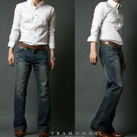 Korean men's  brand designer casual pants jeans flared trousers loose