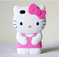 Free shipping Cute 3D Hello Kitty Shape Soft Silicone Case for iPhone 4 4S shell