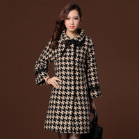 European high quality wool coat 2014 autumn and winter double breasted medium-long trench coat Christmas women jackets winter