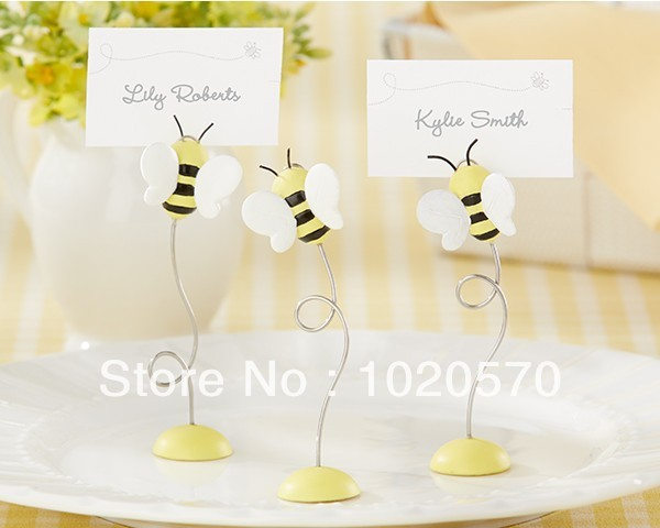"Free shipping+Factory directly sale+100pcs/lot ""Sweet as Can Bee!"" Baby Bee Place Card Holder+wedding favor+Baby shower(China (Mainland))"