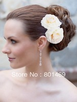 2013 Hot 2pcs Bridal White Champagne Hair Flower Clip Brooch Pin Wedding Party