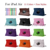For iPad Air Rotating Case,360 Degree Rotary Stand Magnetic PU Leather Case For iPad Air iPad 5 Smart Cover 11 Color+Free Stylus