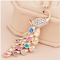 Fashion peacock long necklace decoration female clothes pendant accessories hangings lanyards